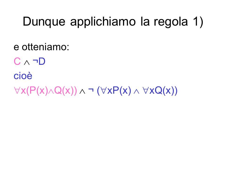 Dunque applichiamo la regola 1) e otteniamo: C ¬D cioè x(P(x) Q(x)) ¬ ( xP(x) xQ(x))