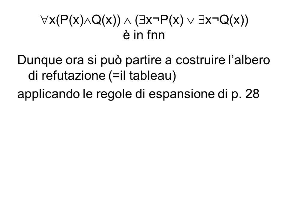 x(P(x) Q(x)) ( x¬P(x) x¬Q(x)) è in fnn Dunque ora si può partire a costruire lalbero di refutazione (=il tableau) applicando le regole di espansione d
