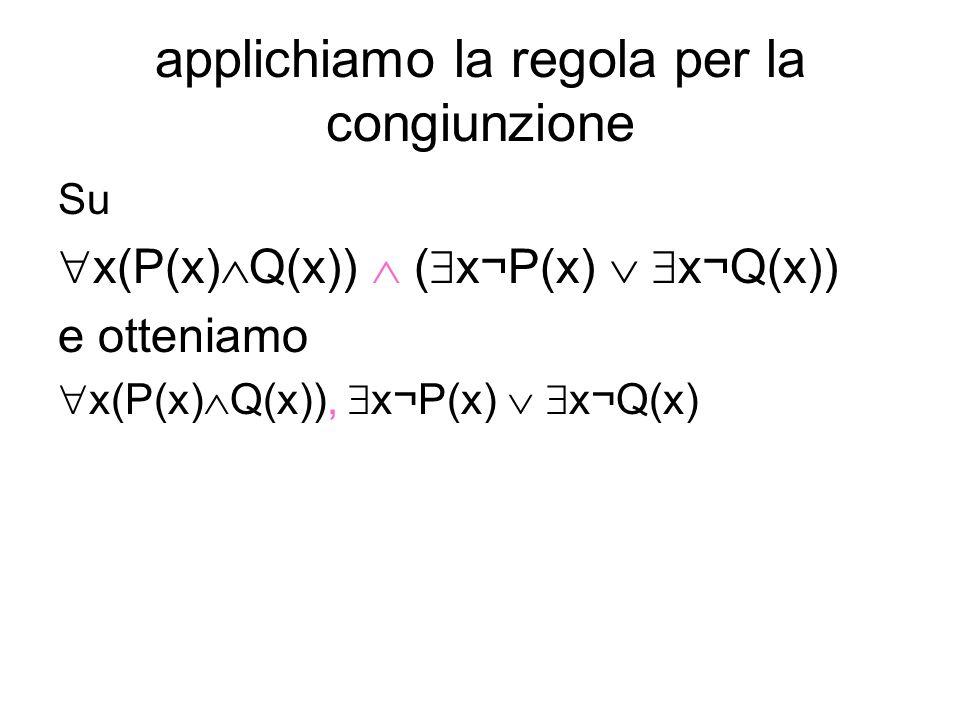 applichiamo la regola per la congiunzione Su x(P(x) Q(x)) ( x¬P(x) x¬Q(x)) e otteniamo x(P(x) Q(x)), x¬P(x) x¬Q(x)