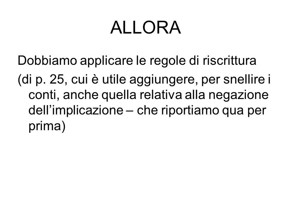 ALLORA Dobbiamo applicare le regole di riscrittura (di p. 25, cui è utile aggiungere, per snellire i conti, anche quella relativa alla negazione delli
