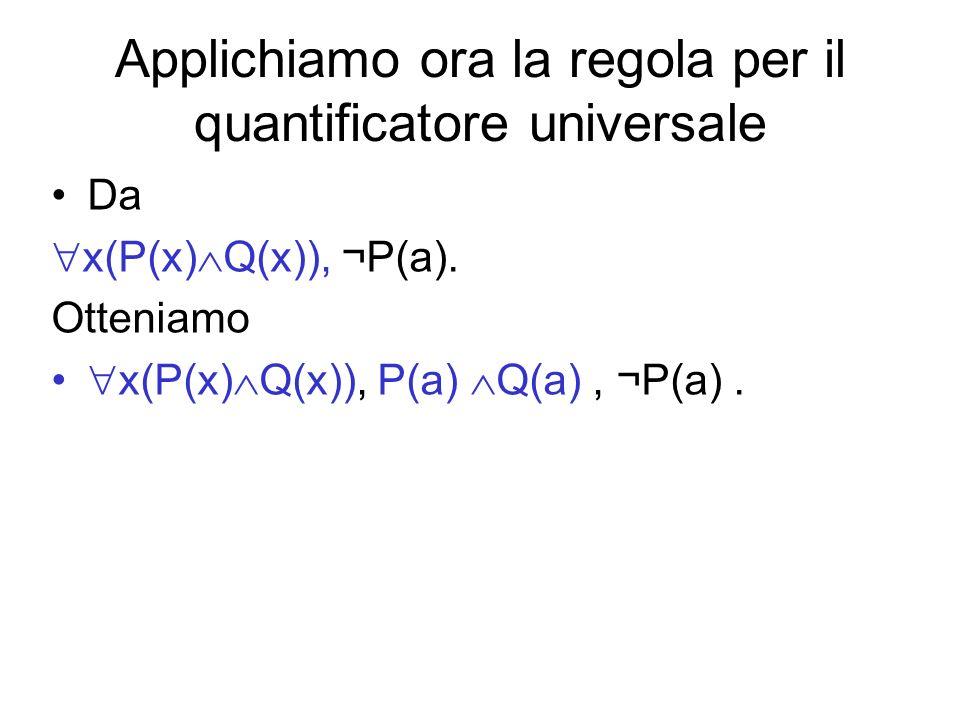 Applichiamo ora la regola per il quantificatore universale Da x(P(x) Q(x)), ¬P(a). Otteniamo x(P(x) Q(x)), P(a) Q(a), ¬P(a).