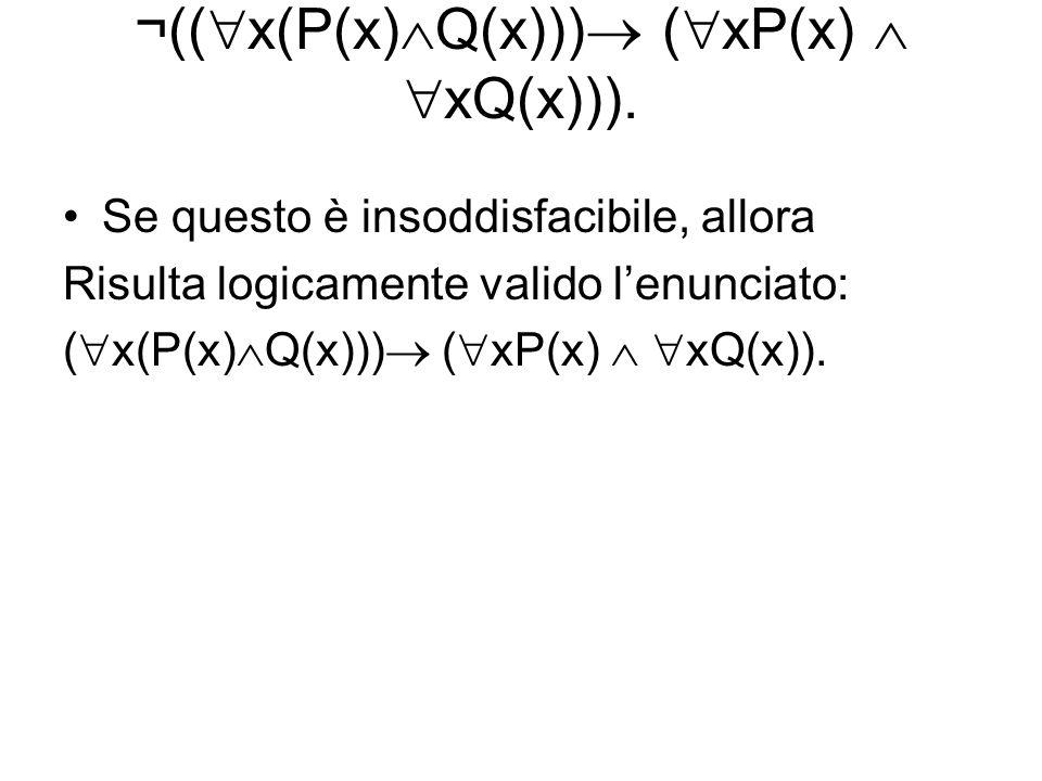 ¬(( x(P(x) Q(x))) ( xP(x) xQ(x))). Se questo è insoddisfacibile, allora Risulta logicamente valido lenunciato: ( x(P(x) Q(x))) ( xP(x) xQ(x)).