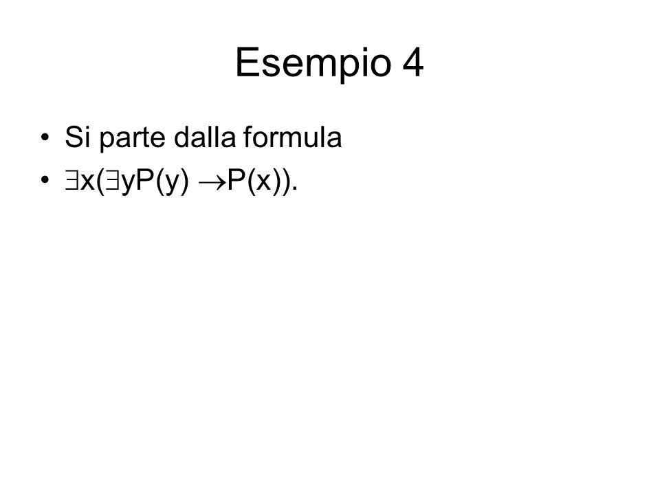 Esempio 4 Si parte dalla formula x( yP(y) P(x)).