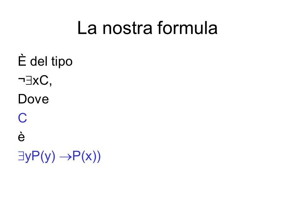 La nostra formula È del tipo ¬ xC, Dove C è yP(y) P(x))