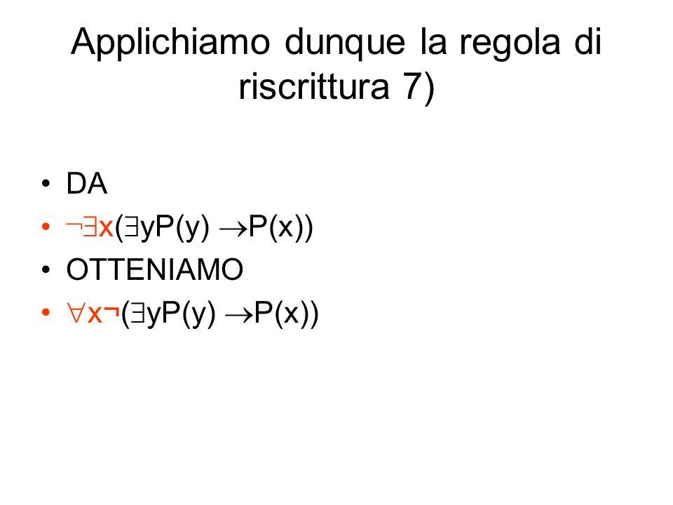 Applichiamo dunque la regola di riscrittura 7) DA ¬ x( yP(y) P(x)) OTTENIAMO x¬( yP(y) P(x))