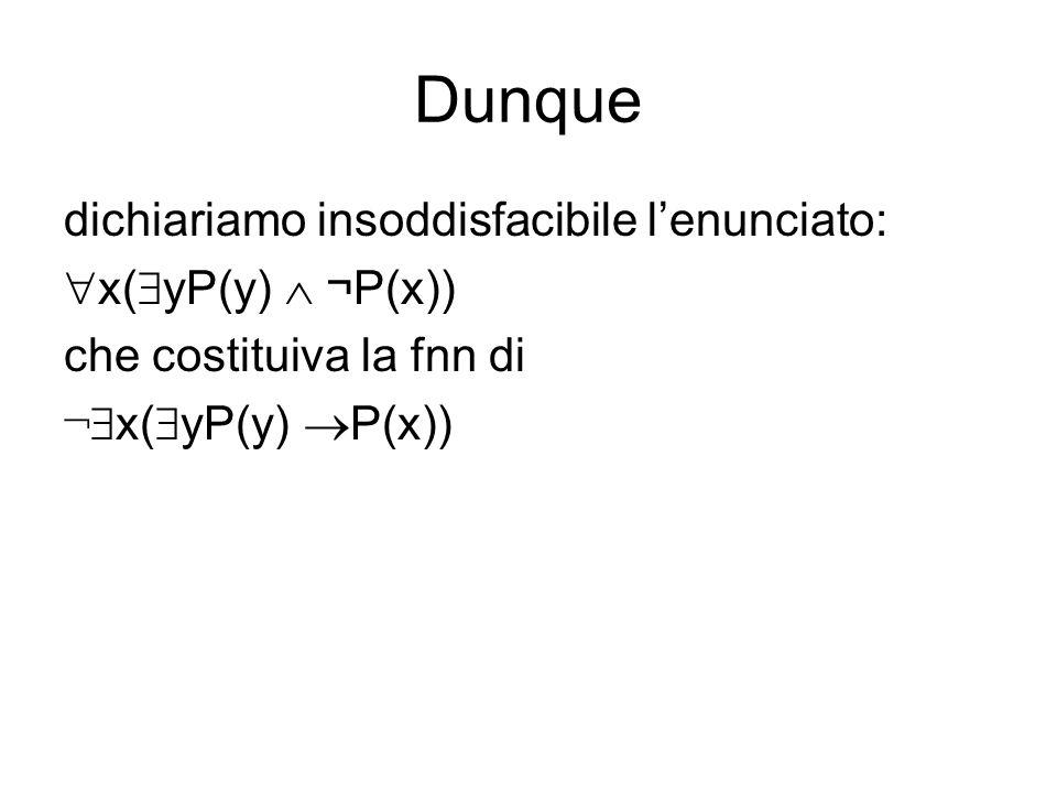 Dunque dichiariamo insoddisfacibile lenunciato: x( yP(y) ¬P(x)) che costituiva la fnn di ¬ x( yP(y) P(x))
