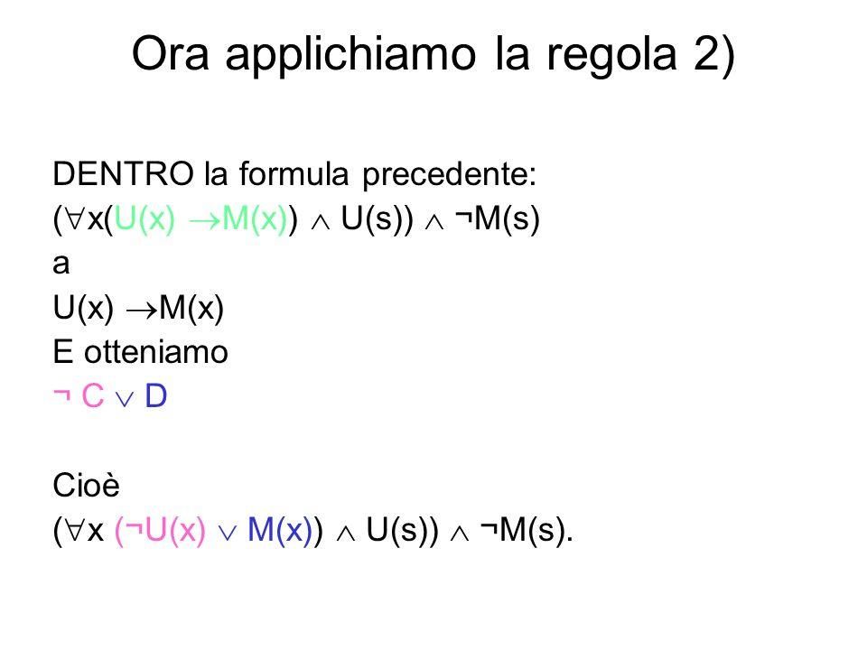 Una precisazione sulle parentesi Quando siamo passati da ( x (¬U(x) M(x)) U(s)) ¬M(s) a x (¬U(x) M(x)) U(s), ¬M(s) abbiamo tolto le parentesi qui segnate in verde, perché esse servivano solo a chiarire che lespressione che contenevano formava un tutto unico (che si aggiungeva a ¬M(s) ) ed era una congiunzione di x (¬U(x) M(x)) e U(s).