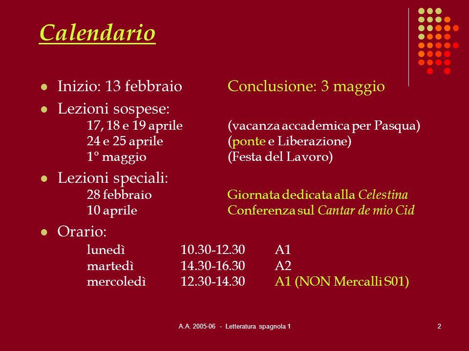 A.A. 2005-06 - Letteratura spagnola 12 Calendario Inizio: 13 febbraioConclusione: 3 maggio Lezioni sospese: 17, 18 e 19 aprile(vacanza accademica per