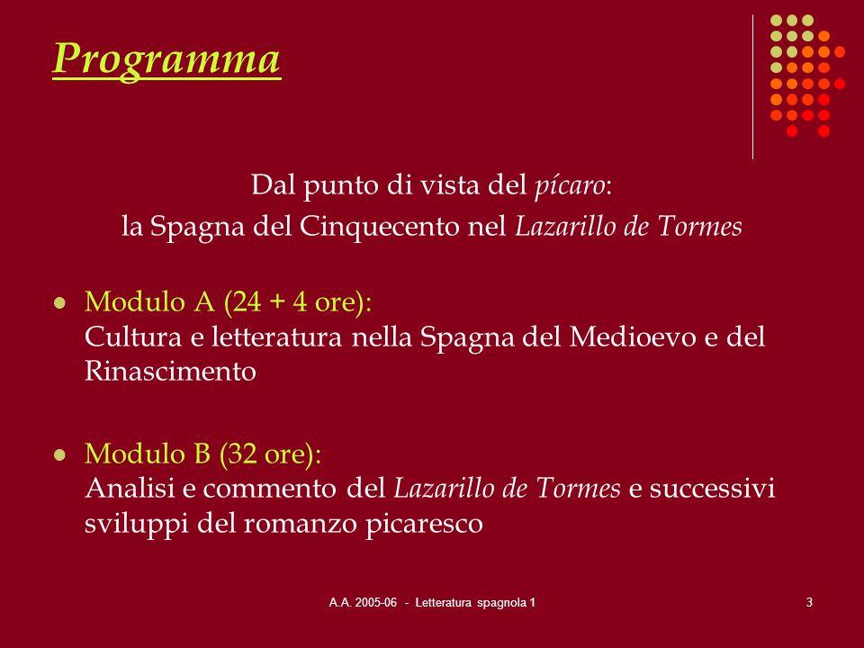 A.A. 2005-06 - Letteratura spagnola 13 Programma Dal punto di vista del pícaro : la Spagna del Cinquecento nel Lazarillo de Tormes Modulo A (24 + 4 or