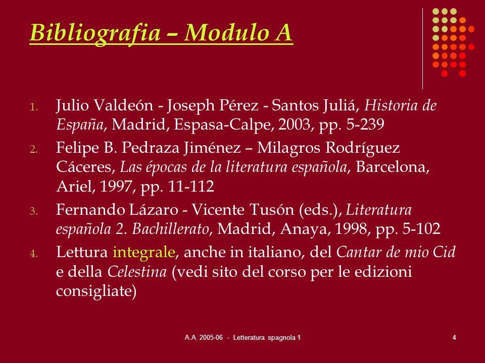A.A.2005-06 - Letteratura spagnola 15 Bibliografia – Modulo B 1.