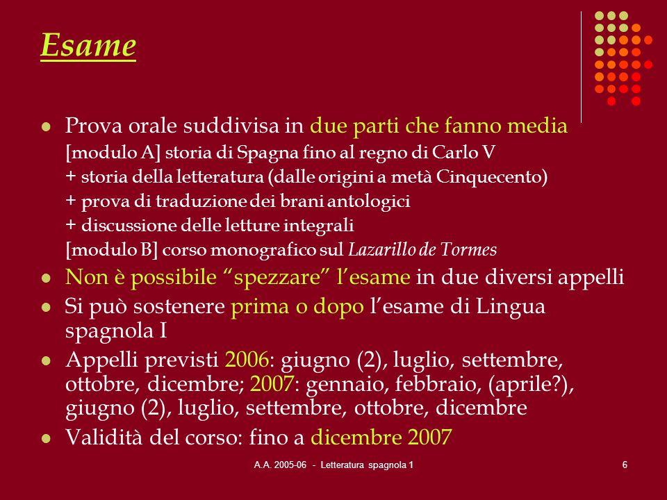 A.A. 2005-06 - Letteratura spagnola 16 Esame Prova orale suddivisa in due parti che fanno media [modulo A] storia di Spagna fino al regno di Carlo V +