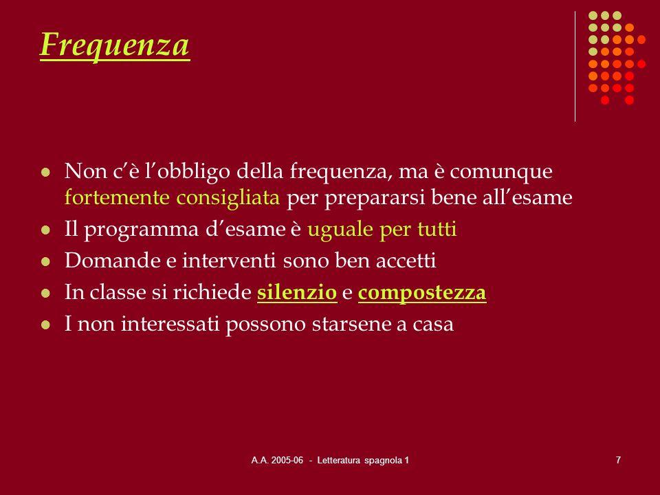 A.A. 2005-06 - Letteratura spagnola 17 Frequenza Non cè lobbligo della frequenza, ma è comunque fortemente consigliata per prepararsi bene allesame Il