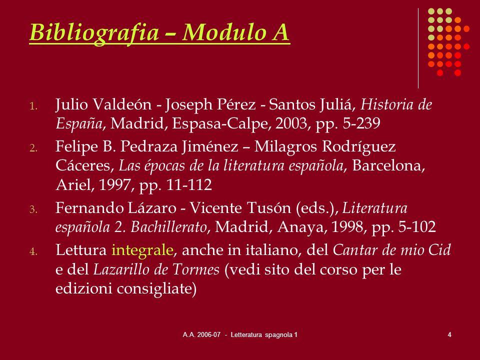 A.A. 2006-07 - Letteratura spagnola 14 Bibliografia – Modulo A 1. Julio Valdeón - Joseph Pérez - Santos Juliá, Historia de España, Madrid, Espasa-Calp