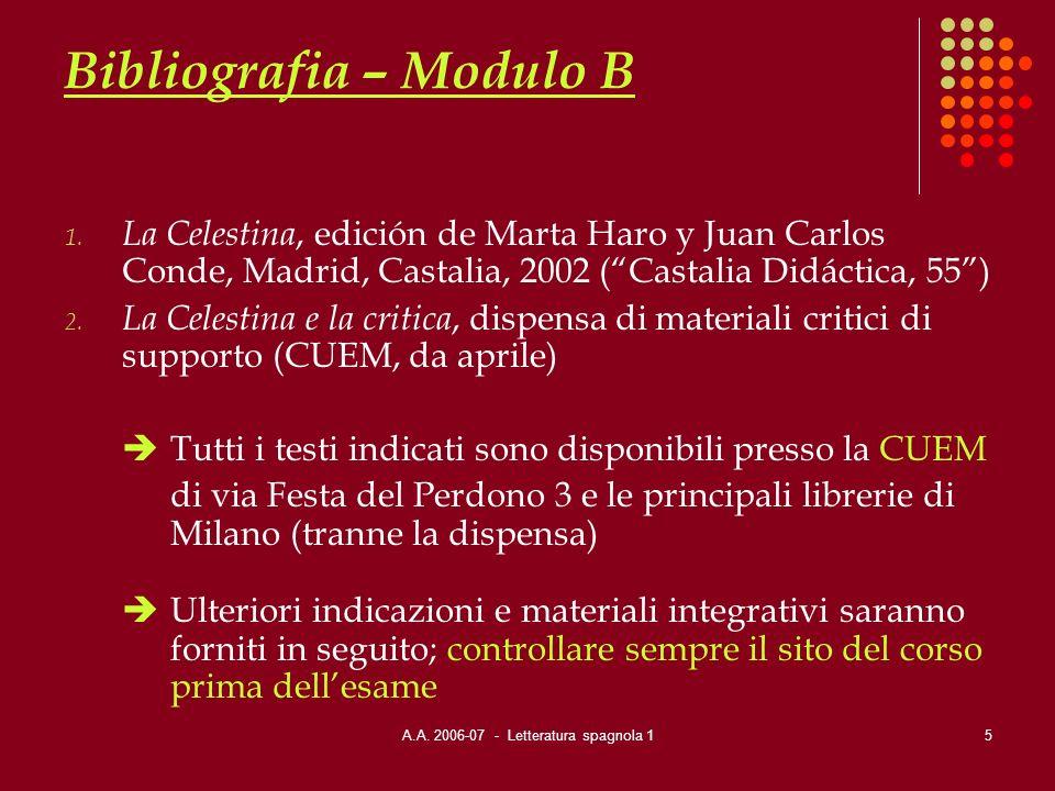 A.A. 2006-07 - Letteratura spagnola 15 Bibliografia – Modulo B 1. La Celestina, edición de Marta Haro y Juan Carlos Conde, Madrid, Castalia, 2002 (Cas