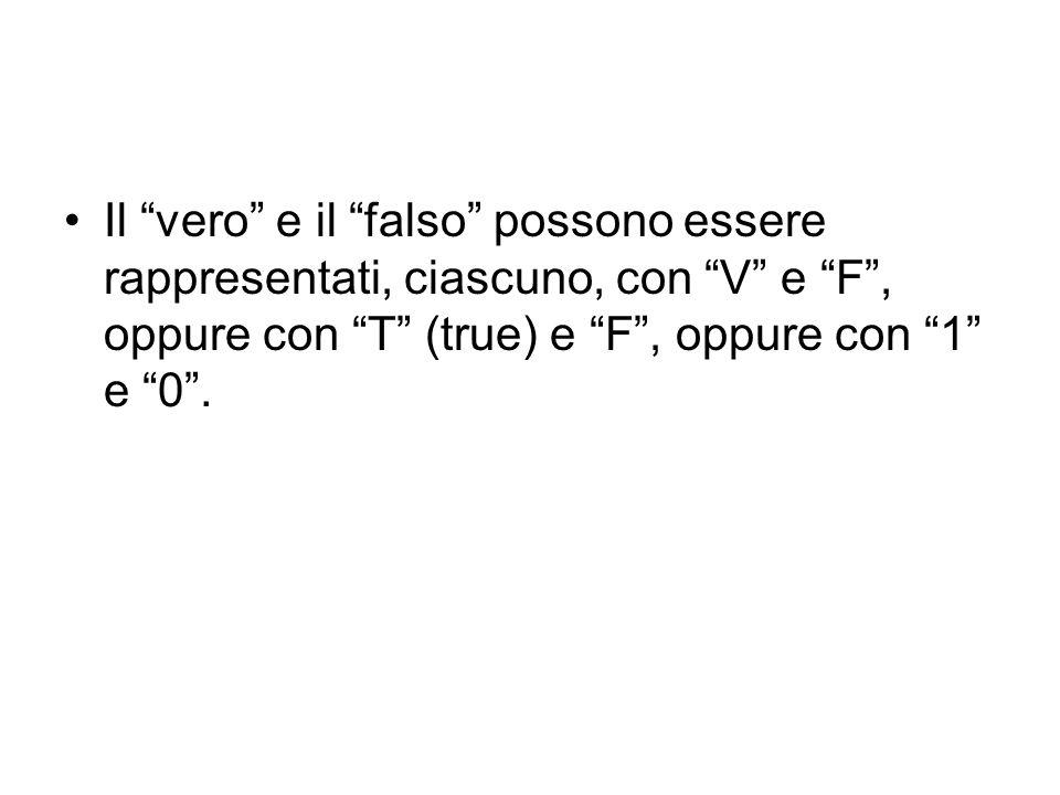 Il vero e il falso possono essere rappresentati, ciascuno, con V e F, oppure con T (true) e F, oppure con 1 e 0.
