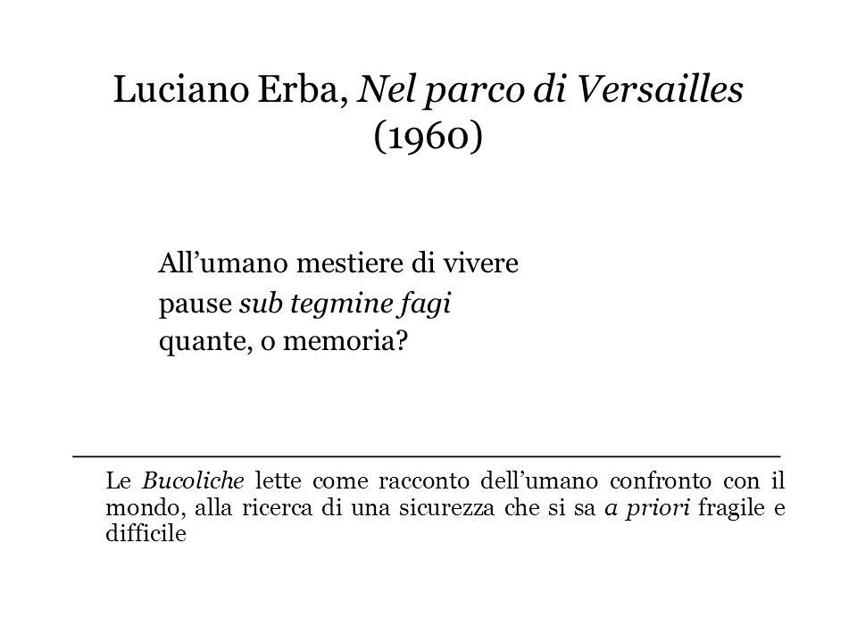 Luciano Erba, Nel parco di Versailles (1960) Allumano mestiere di vivere pause sub tegmine fagi quante, o memoria? ___________________________________