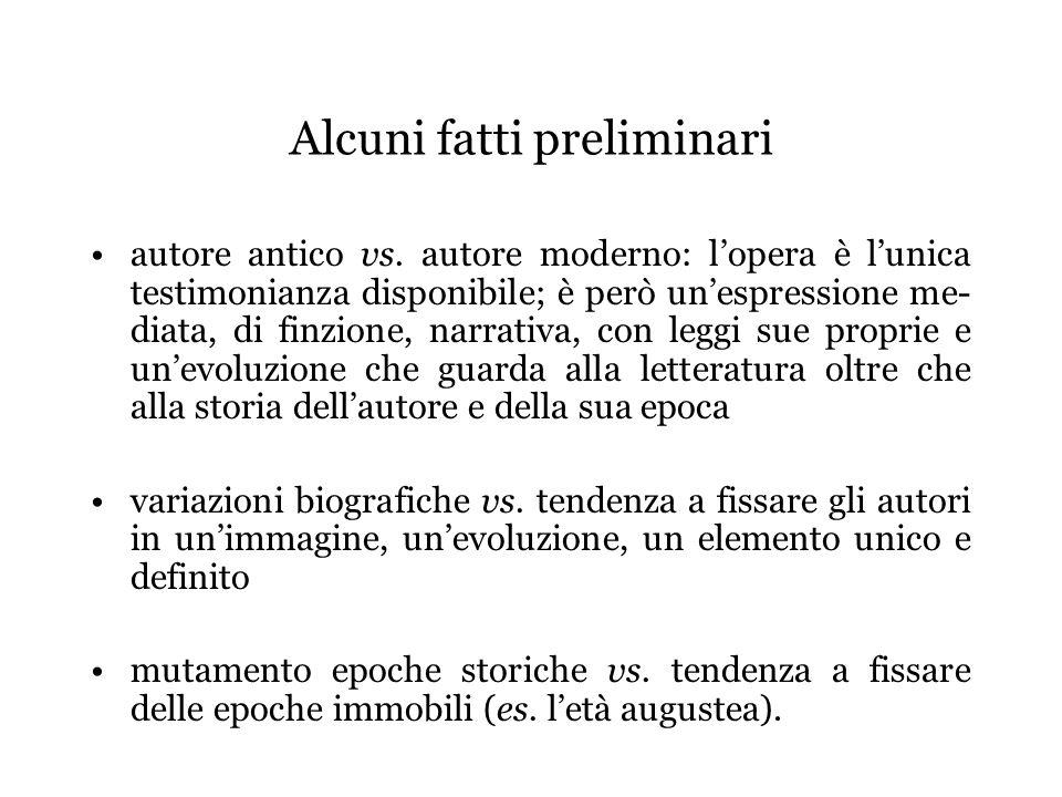 Alcuni fatti preliminari autore antico vs. autore moderno: lopera è lunica testimonianza disponibile; è però unespressione me- diata, di finzione, nar