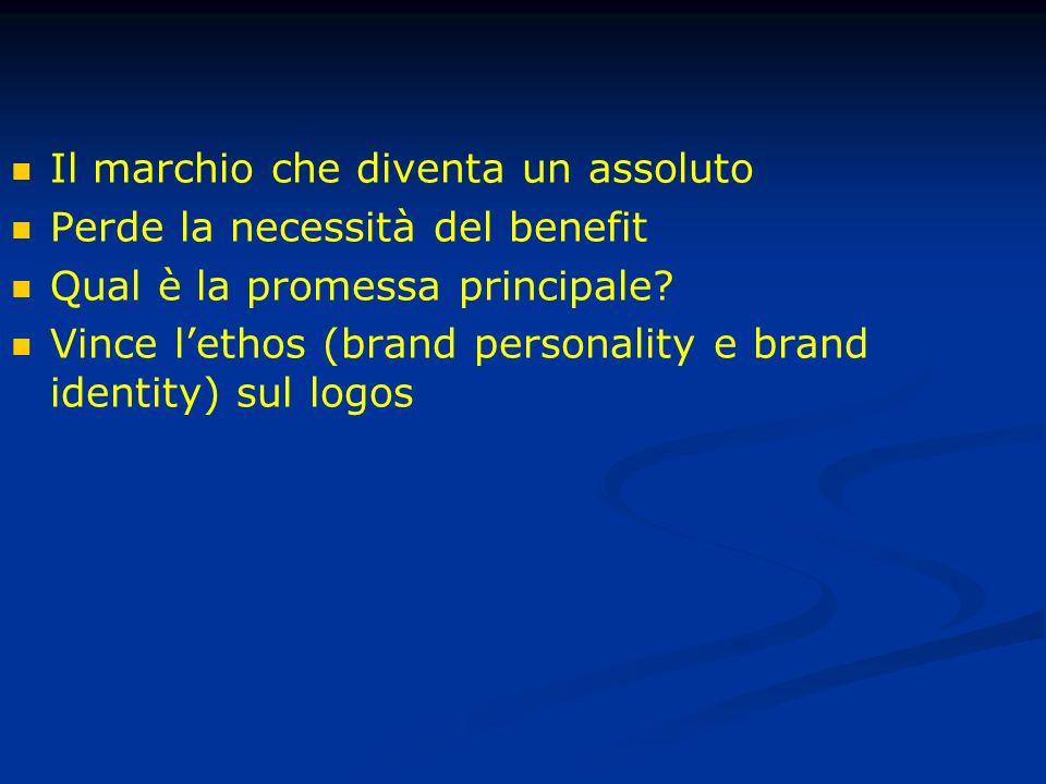 Il marchio che diventa un assoluto Perde la necessità del benefit Qual è la promessa principale.