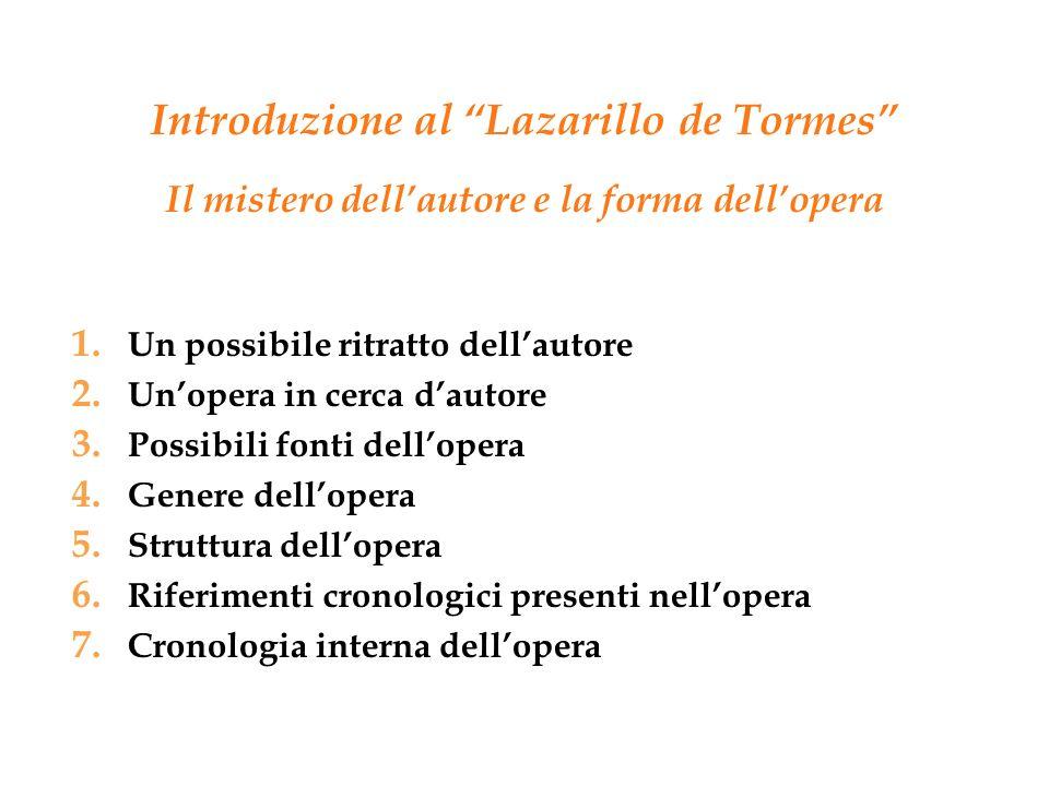 Introduzione al Lazarillo de Tormes Il mistero dellautore e la forma dellopera 1. Un possibile ritratto dellautore 2. Unopera in cerca dautore 3. Poss