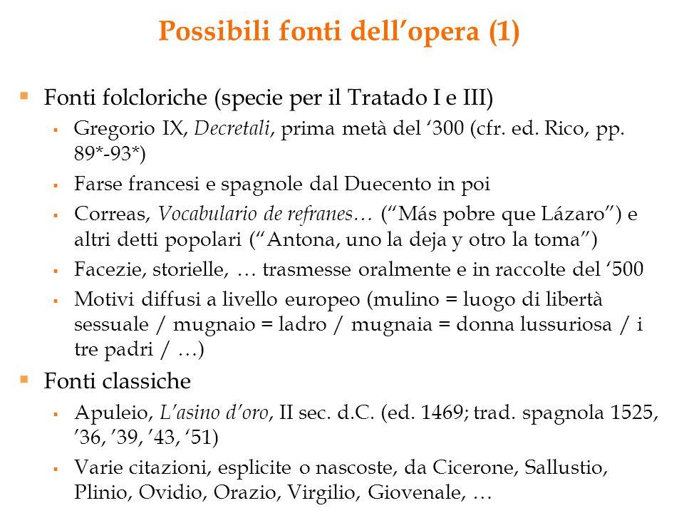 Possibili fonti dellopera (1) Fonti folcloriche (specie per il Tratado I e III) Gregorio IX, Decretali, prima metà del 300 (cfr. ed. Rico, pp. 89*-93*