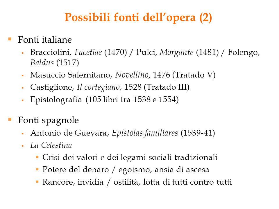 Possibili fonti dellopera (2) Fonti italiane Bracciolini, Facetiae (1470) / Pulci, Morgante (1481) / Folengo, Baldus (1517) Masuccio Salernitano, Nove