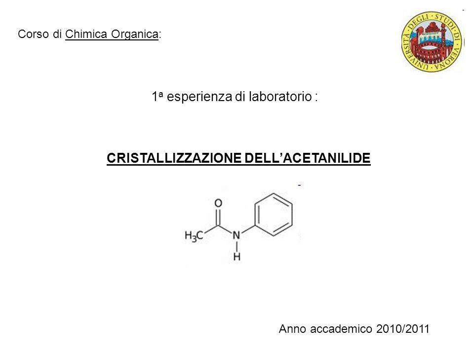 1 a esperienza di laboratorio : CRISTALLIZZAZIONE DELLACETANILIDE Corso di Chimica Organica: Anno accademico 2010/2011
