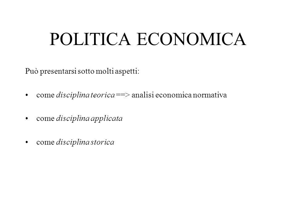POLITICA ECONOMICA Può presentarsi sotto molti aspetti: come disciplina teorica ==> analisi economica normativa come disciplina applicata come disciplina storica