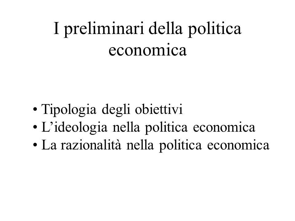 I preliminari della politica economica Tipologia degli obiettivi Lideologia nella politica economica La razionalità nella politica economica