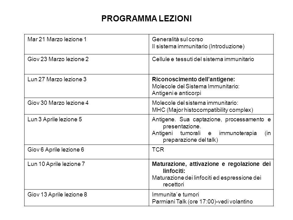 PROGRAMMA LEZIONI Mar 21 Marzo lezione 1Generalità sul corso Il sistema immunitario (Introduzione) Giov 23 Marzo lezione 2Cellule e tessuti del sistem