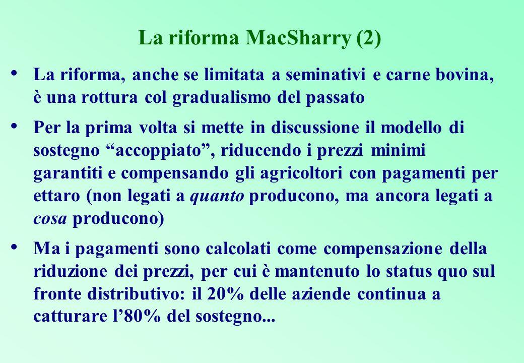 Le tappe della progressiva riforma della PAC 1979: quote alla produzione per lo zucchero 1984: quote alla produzione per il latte 1988: stabilizzatori automatici di bilancio (sin qui contenimento della spesa, dal 1992 riorientamento dei prezzi al mercato e disaccoppiamento del sostegno) 1992: riforma MacSharry 1999: Agenda 2000 2003: riforma Fischler (revisione di medio termine di Agenda 2000)