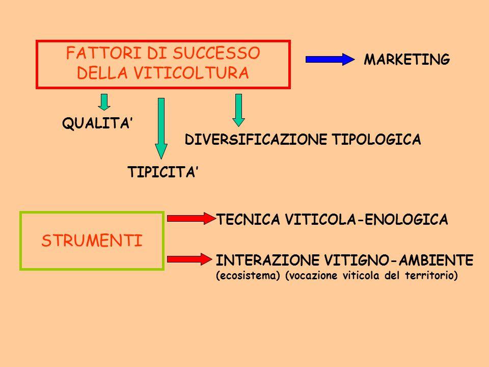 FATTORI DI SUCCESSO DELLA VITICOLTURA MARKETING QUALITA DIVERSIFICAZIONE TIPOLOGICA TIPICITA STRUMENTI TECNICA VITICOLA-ENOLOGICA INTERAZIONE VITIGNO-