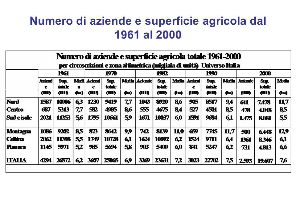 Numero di aziende e superficie agricola dal 1961 al 2000