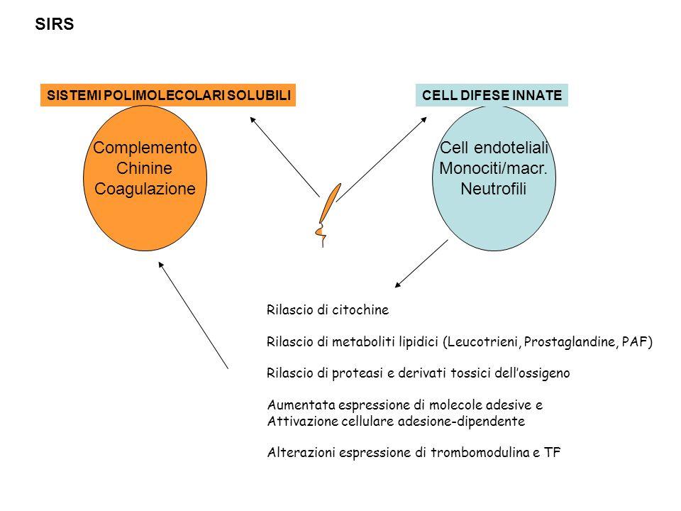 Cell endoteliali Monociti/macr. Neutrofili CELL DIFESE INNATE Rilascio di citochine Rilascio di metaboliti lipidici (Leucotrieni, Prostaglandine, PAF)