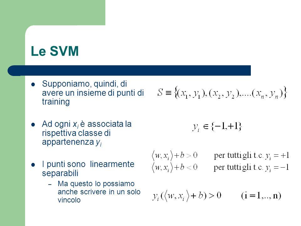 Le SVM Supponiamo, quindi, di avere un insieme di punti di training Ad ogni x i è associata la rispettiva classe di appartenenza y i I punti sono line