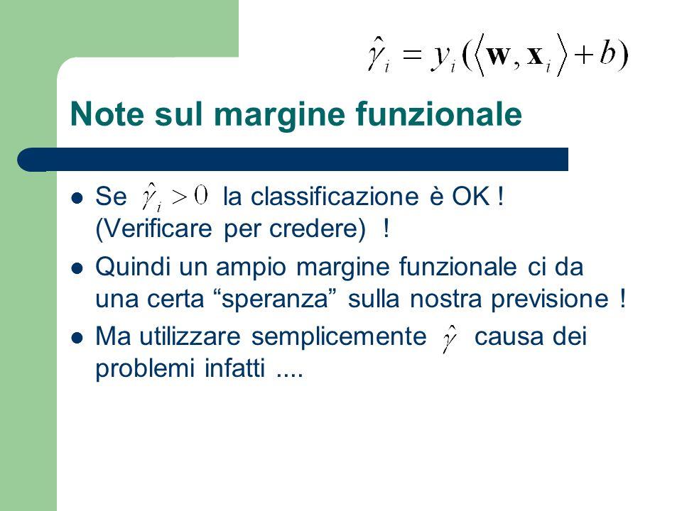 Note sul margine funzionale Se la classificazione è OK ! (Verificare per credere) ! Quindi un ampio margine funzionale ci da una certa speranza sulla