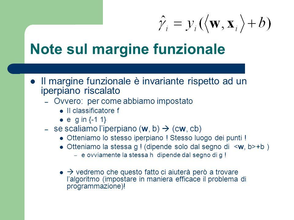 Note sul margine funzionale Il margine funzionale è invariante rispetto ad un iperpiano riscalato – Ovvero: per come abbiamo impostato Il classificato