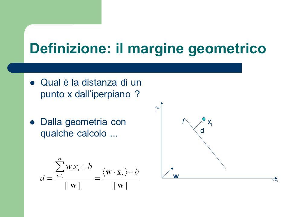 Definizione: il margine geometrico Qual è la distanza di un punto x dalliperpiano ? Dalla geometria con qualche calcolo... Var 2 Var 1 d xixi w f