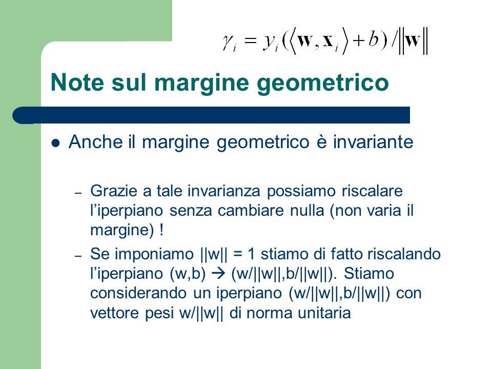 Note sul margine geometrico Anche il margine geometrico è invariante – Grazie a tale invarianza possiamo riscalare liperpiano senza cambiare nulla (no