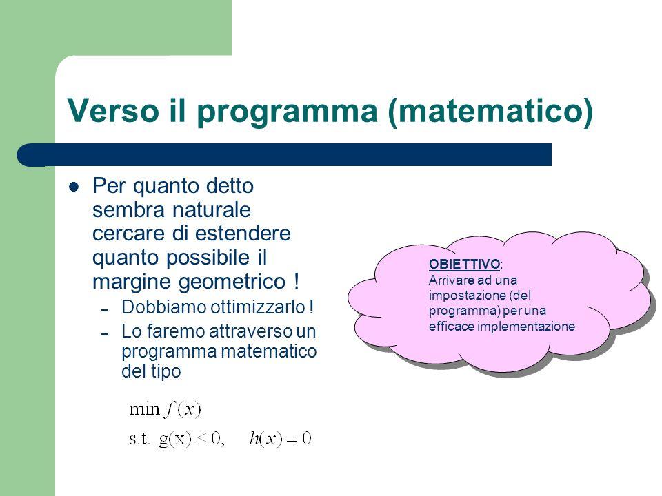 Verso il programma (matematico) Per quanto detto sembra naturale cercare di estendere quanto possibile il margine geometrico ! – Dobbiamo ottimizzarlo