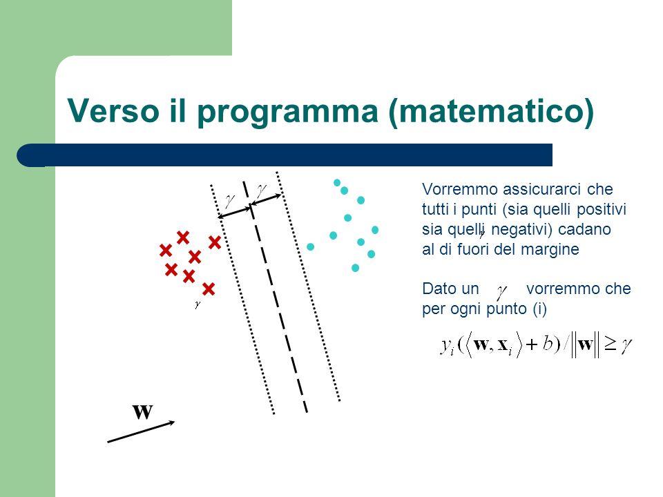 Verso il programma (matematico) w Vorremmo assicurarci che tutti i punti (sia quelli positivi sia quelli negativi) cadano al di fuori del margine Dato