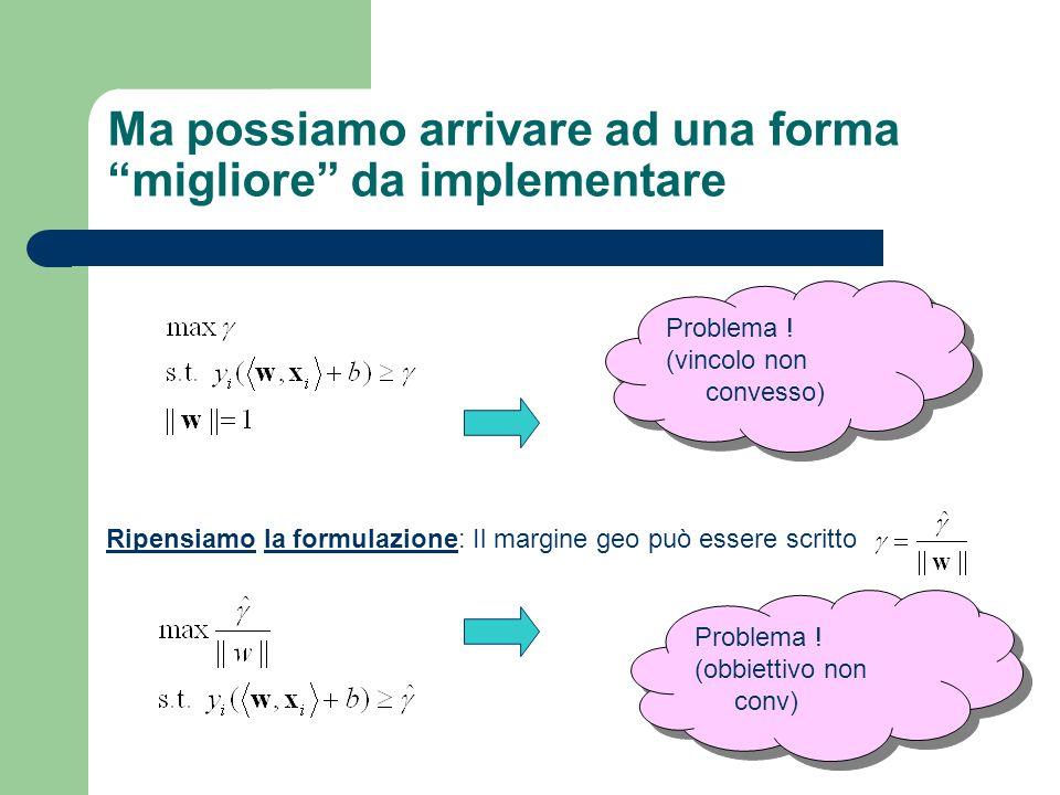 Ma possiamo arrivare ad una forma migliore da implementare Ripensiamo la formulazione: Il margine geo può essere scritto Problema ! (vincolo non conve