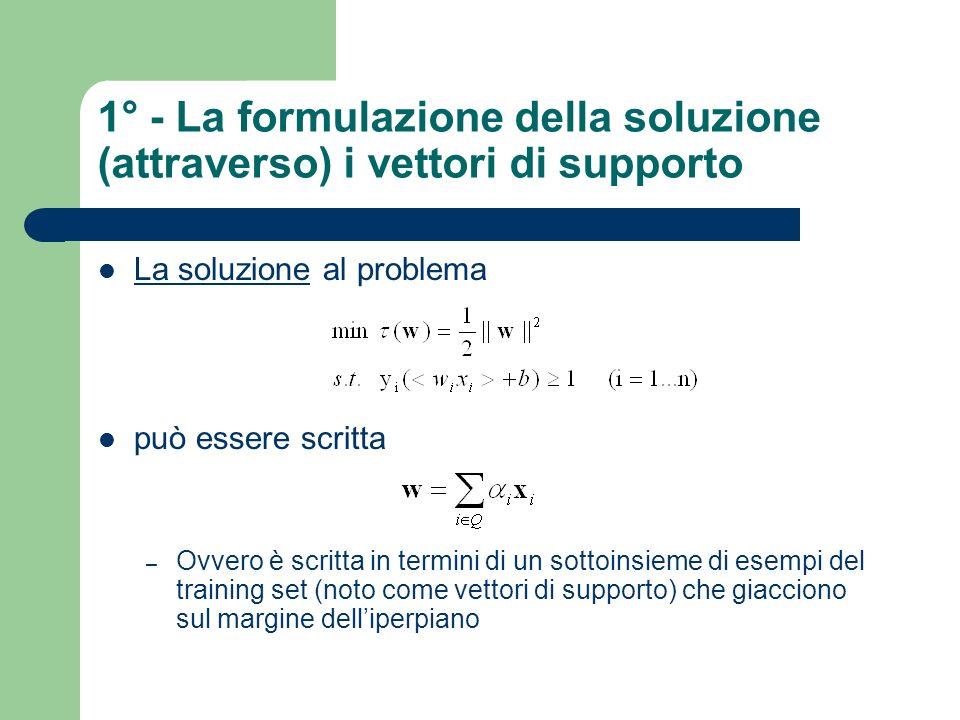 1° - La formulazione della soluzione (attraverso) i vettori di supporto La soluzione al problema può essere scritta – Ovvero è scritta in termini di u