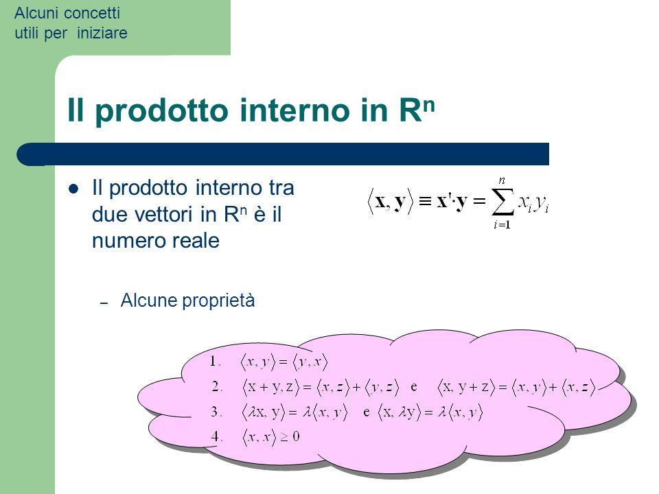 Il prodotto interno in R n Il prodotto interno tra due vettori in R n è il numero reale – Alcune proprietà Alcuni concetti utili per iniziare