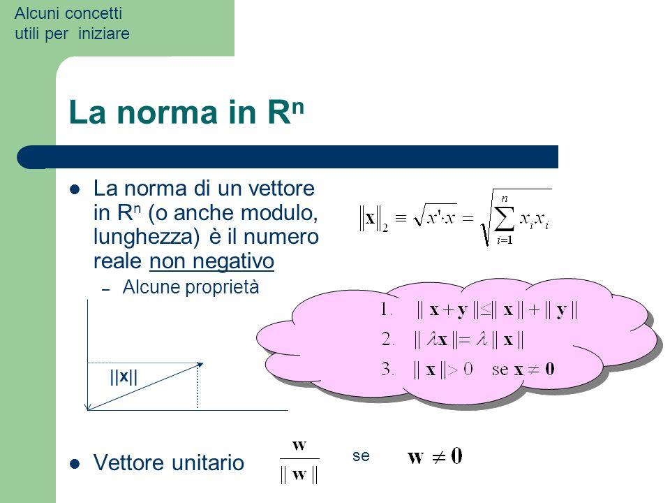 La norma in R n La norma di un vettore in R n (o anche modulo, lunghezza) è il numero reale non negativo – Alcune proprietà Vettore unitario Alcuni co
