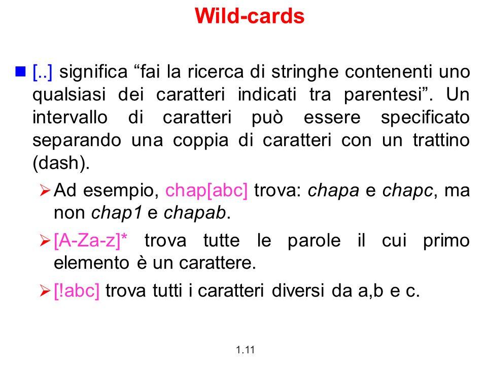 1.11 Wild-cards [..] significa fai la ricerca di stringhe contenenti uno qualsiasi dei caratteri indicati tra parentesi. Un intervallo di caratteri pu