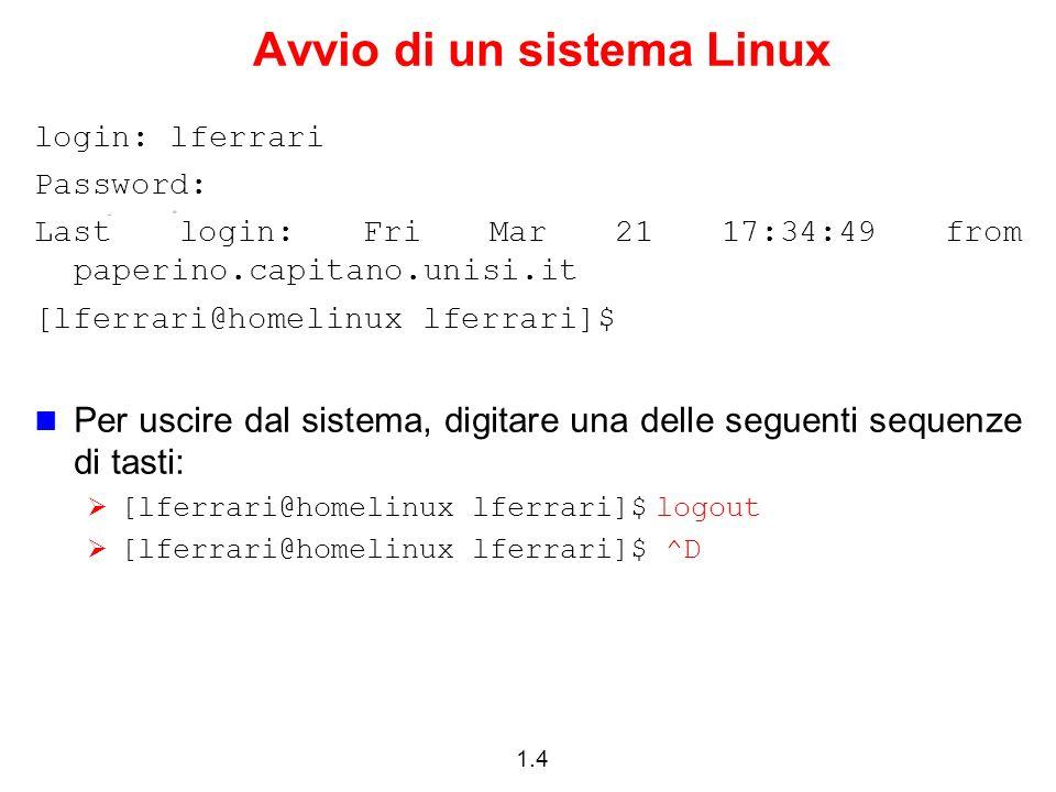 1.4 Avvio di un sistema Linux login: lferrari Password: Last login: Fri Mar 21 17:34:49 from paperino.capitano.unisi.it [lferrari@homelinux lferrari]$