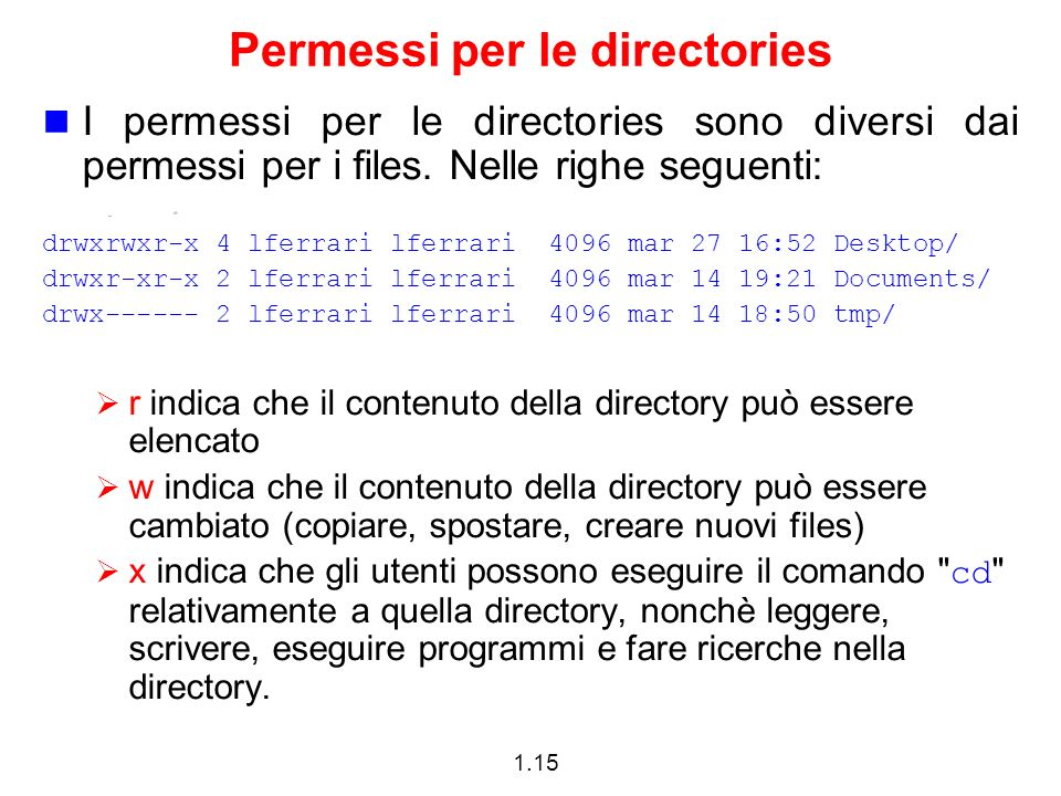 1.15 Permessi per le directories I permessi per le directories sono diversi dai permessi per i files. Nelle righe seguenti: drwxrwxr-x 4 lferrari lfer