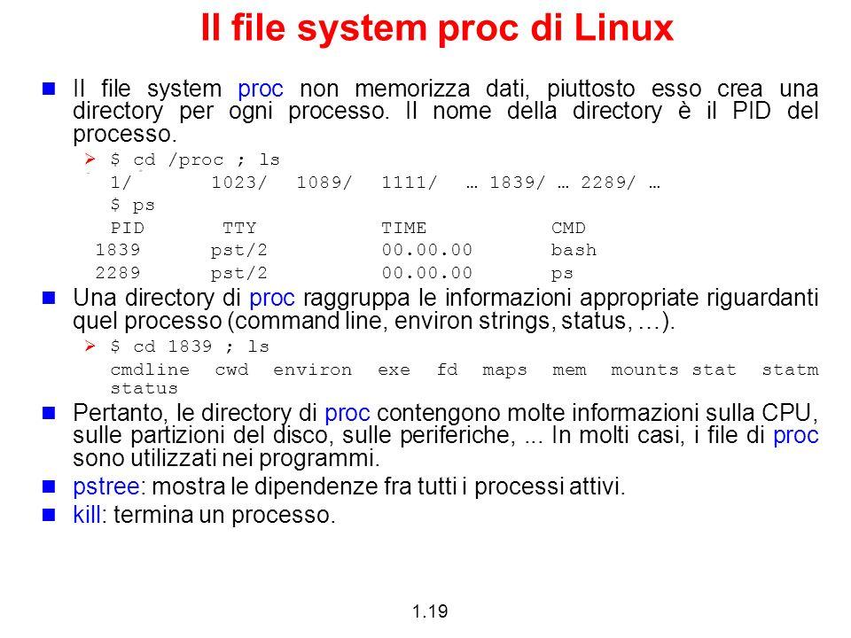 1.19 Il file system proc di Linux Il file system proc non memorizza dati, piuttosto esso crea una directory per ogni processo. Il nome della directory