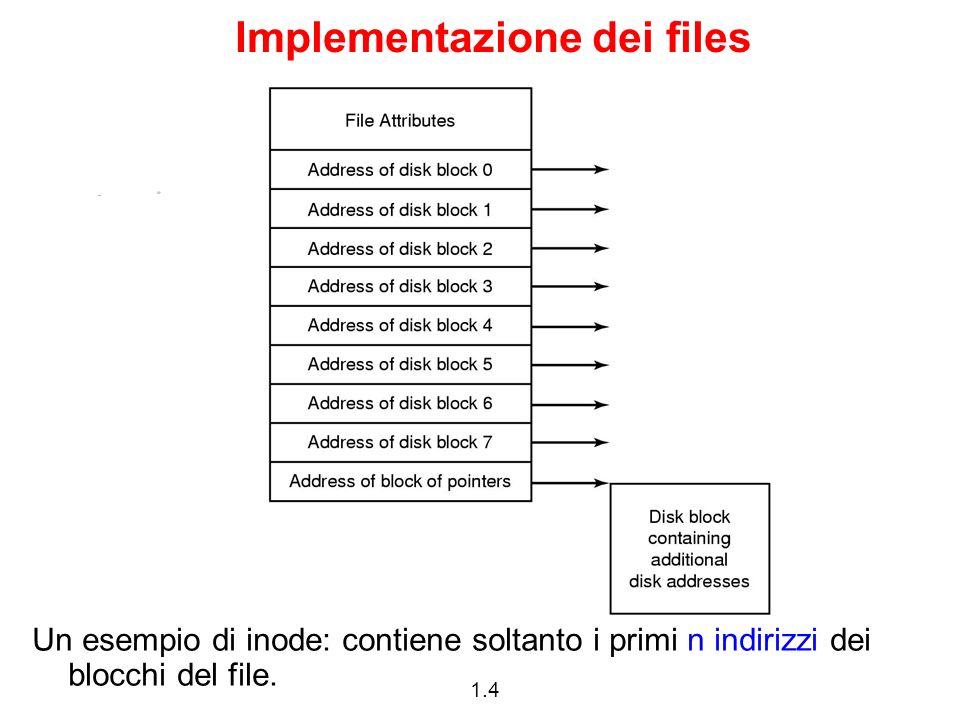 1.4 Implementazione dei files Un esempio di inode: contiene soltanto i primi n indirizzi dei blocchi del file.