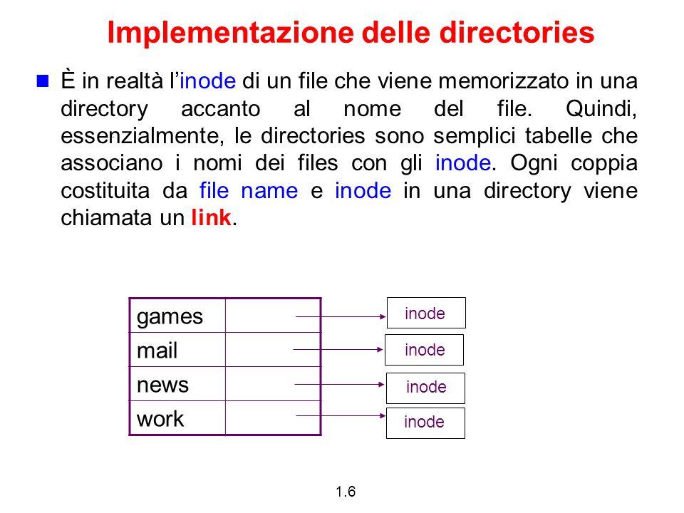 1.6 Implementazione delle directories È in realtà linode di un file che viene memorizzato in una directory accanto al nome del file. Quindi, essenzial